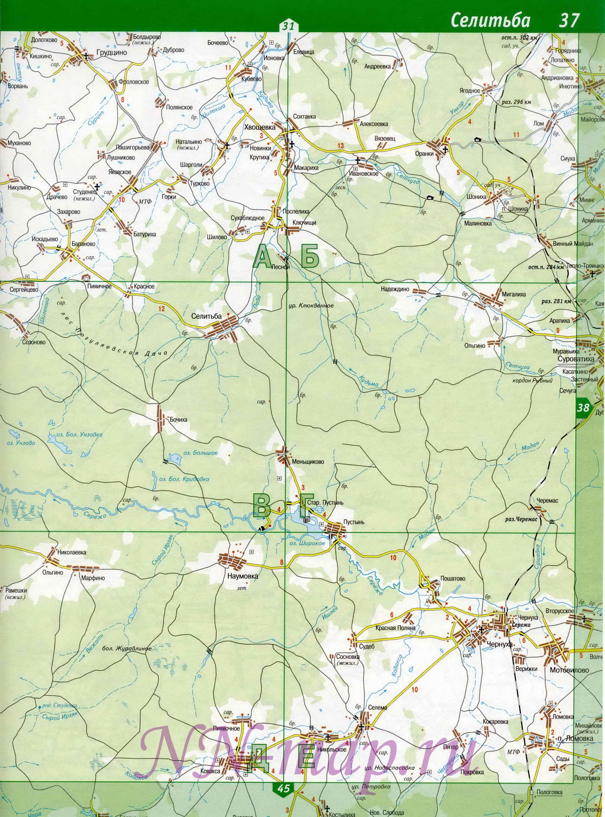 Карта Арзамасского района.  Подробная карта дорог Нижегородской области - Арзамасский район.