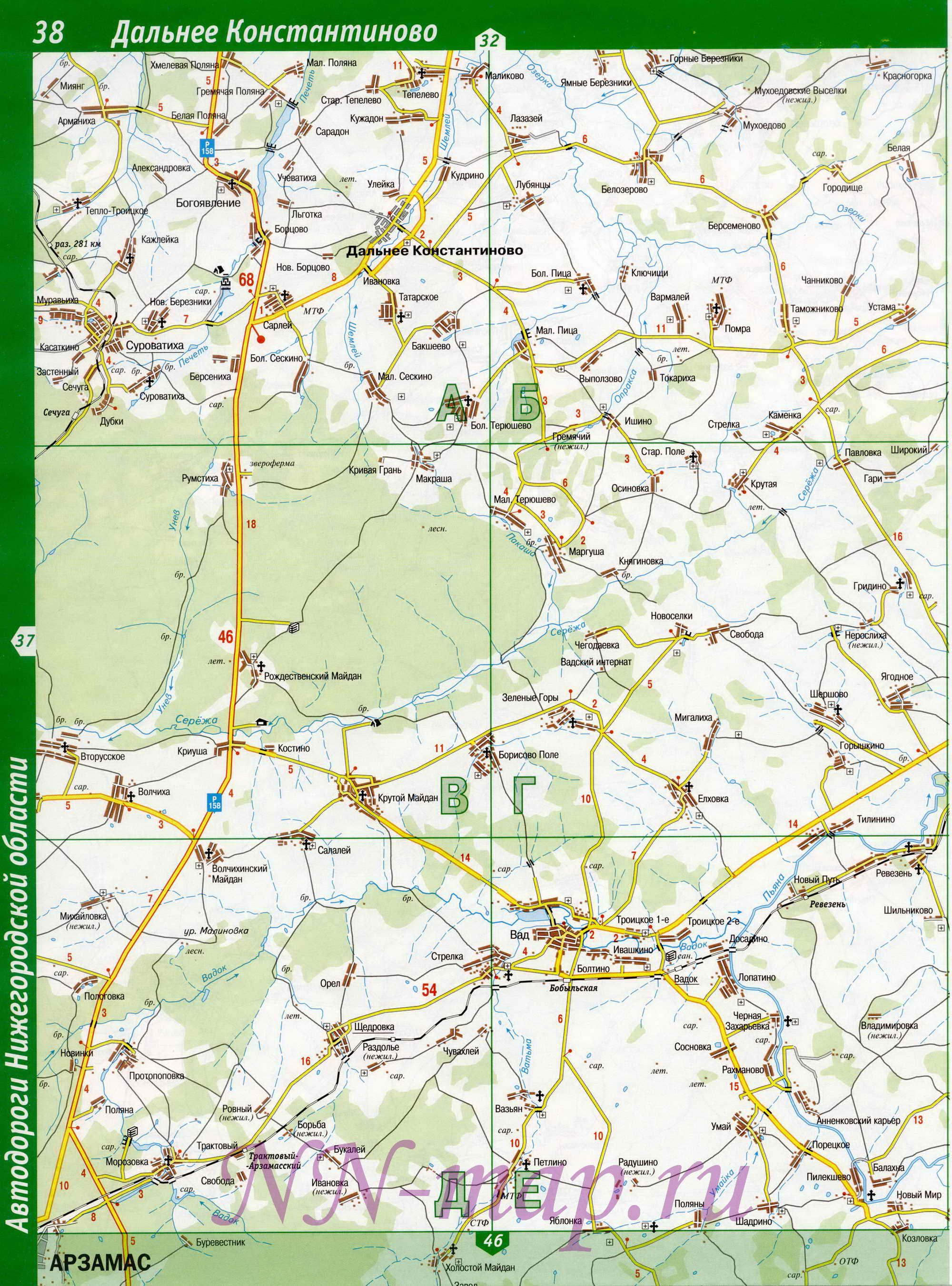 Карта Перевозский район, Нижегородская область.  Карта автомобильных дорог Перевозского р-на.