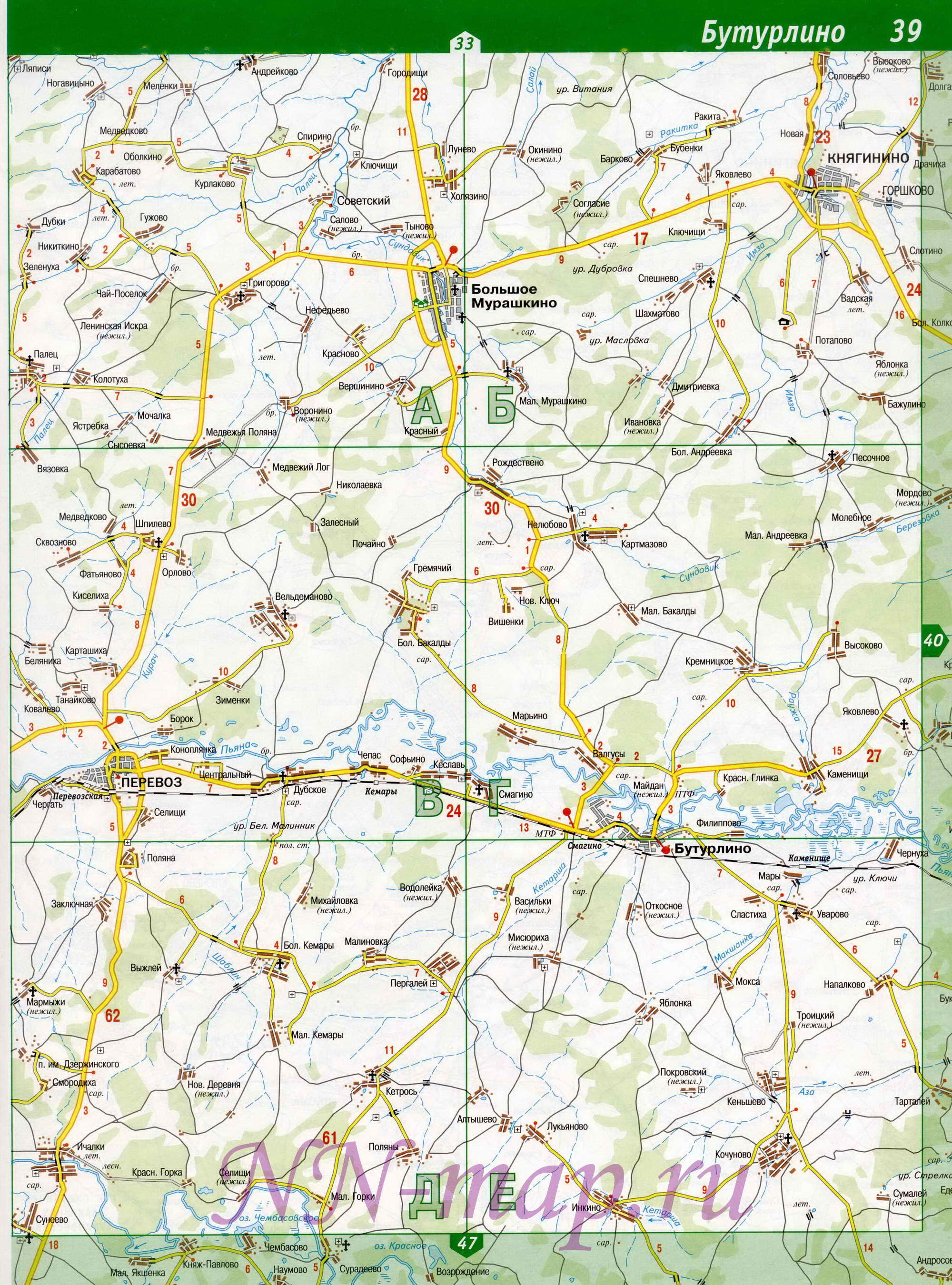 Карта Большемурашкинского района, Нижегородская область.  Карта автодорог Большемурашкинский р-он.